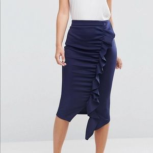 ASOS scuba pencil skirt w/ ruffle detail